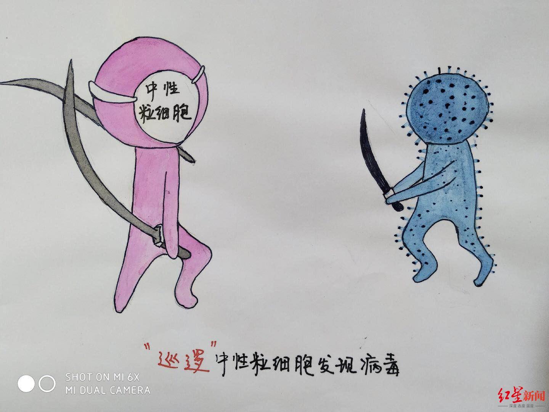 """中性粒细胞ko病毒!德阳小护士手绘""""打怪""""科普漫画走红"""
