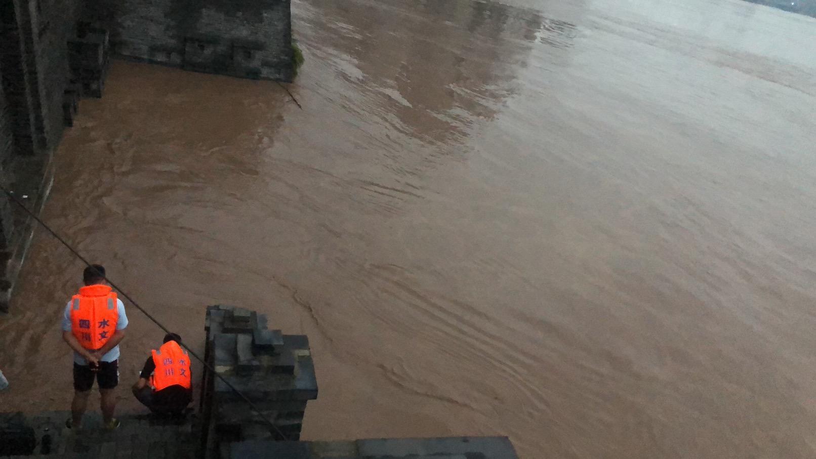 超警戒水位5.22米!渠江洪峰今晨5点15分安全过境四川广安城区